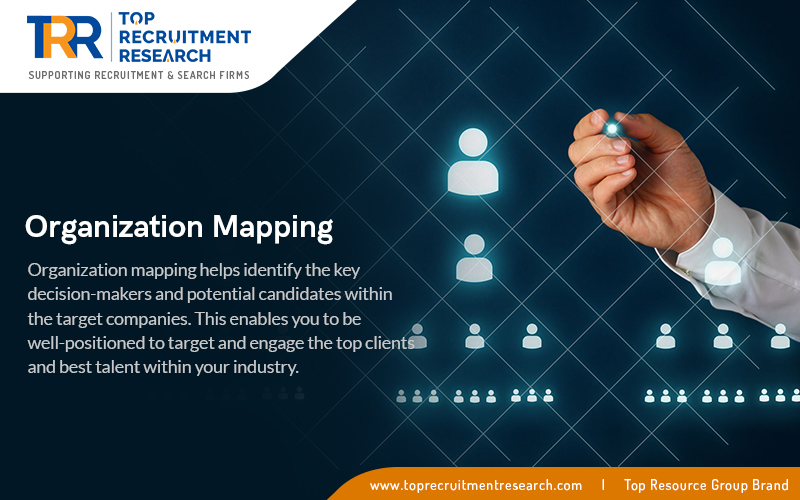 Organization mapping helps identify the key decision makers and potential candidates within the target companies